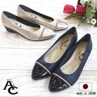 AC パンプス レディース 靴 日本製 歩きやすい 3e 結婚式 仕事 痛くない キラキラ ビジュー