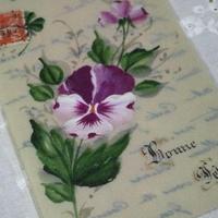 アンティークポストカード セルロイド パンジー c-145
