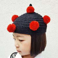 ポンポン帽子(こども)RED
