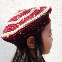 切り替えベレー帽(こども)BORDEAUX