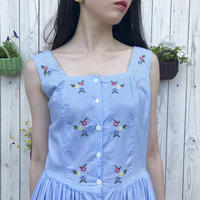 vintage stripe flower pattern one-piece
