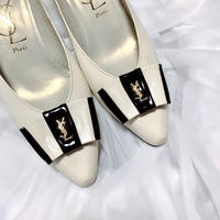vintage YSL logo bycolor ribbon shoes