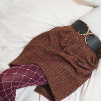 vintage mix color tweed skirt