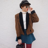 vintage chidori pattern velvet jaket