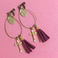 handmade christ charm drop fringe earrings