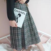 vintage checked pleats skirt