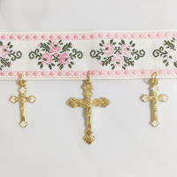 RE ITEM♡handmade cross charm flower ribon choker