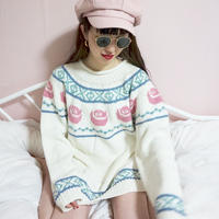 vintage pastel color rose knit