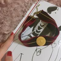 handmade MOSCHINO gold button velour remake choker