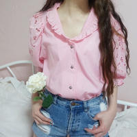 vintage 2way cotton frill blouse