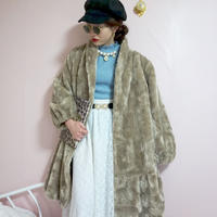 vintage long  fur coat beige