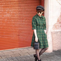vintage 2way check  jaket one-piece