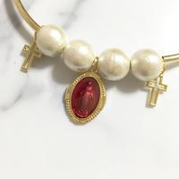 handmade christ charm cotton pearl choker