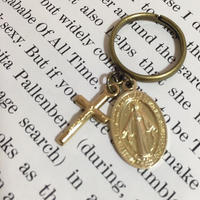 handmade christ charm & cross ring