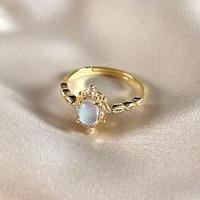 Natural moon stone ring