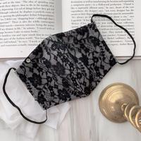 【再入荷受注❤︎ストーン付】 handmade black lace mask