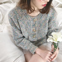 vintage mix color gold button knit