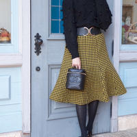 vintage gingham checked  flare skirt