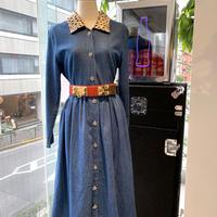 vintage leopard collar denim dress