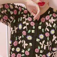 vintage pastel  flower knit tops