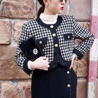 vintage chidori pattern tweed  jaket