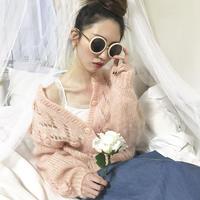 vintage baby pink flower knit cardigan