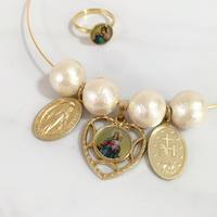 handmade heart christ charm cotton pearl choker & ring SET