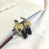 ♡RE ITEM♡handmade heart charm suede  fringe earrings