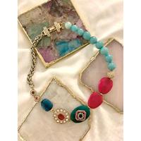 vintage bijou stone necklace