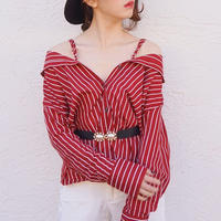 select stripe 2way blouse