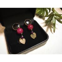 raspberry bomb pierce/earring