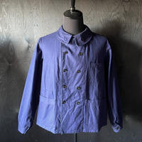 """early 20th c. french cotton work jacket dead stock """"double breasted"""""""