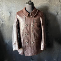 """mid 20th c. france vintage brown leather jacket """"le corbusier type"""""""