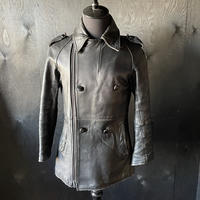 """late 20th c. french military motorcycle black leather coat """"reconstruct of m38 type"""""""