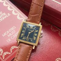 美品✨カルティエ Cartier ヴィンテージ 黒文字盤 タンク 手巻き腕時計