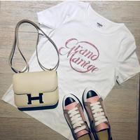 【HERMES】限定 エルメス 完売 ロゴ Tシャツ グランマネージュ 白 38 レシート有