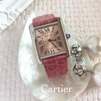 美品 ✨ カルティエ Cartier タンクソロ ピンク文字盤 SM 腕時計