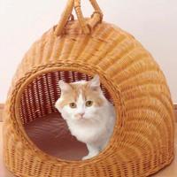 【送料無料】天然籐 籐製 ラタン キャット ハウス 猫小屋 猫ベッド