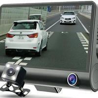 3カメラ搭載 ドライブレコーダー ブラック(あおり運転防止プレート付き) 4インチ液晶 衝撃録画