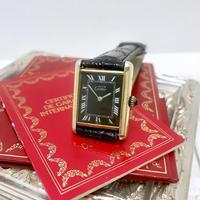 カルティエCartier ブラックフェイス マストタンク手巻き腕時計