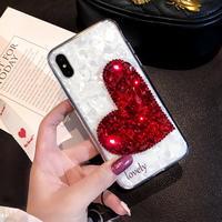 キラキラ ハート柄 スマホケース 保護用iphoneケース ストラップ付き iPhoneXケース 耐衝撃ケース