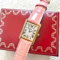 美品✨カルティエ Cartier アクアリーノ マストタンク ピンク文字盤腕時計