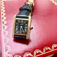 ✨カルティエCartier☆ブラックフェイス ミニマストタンク手巻き腕時計