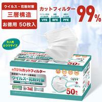 【250枚まとめ割】 新 99%CUT ウイルス飛沫花粉 不織布プリーツマスク 大人用 50枚入X5箱