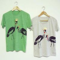 【再入荷・在庫限り】Tシャツ ホオジロカンムリヅル オートミール/グリーン