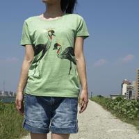 【再入荷・在庫限り】Tシャツ ホオジロカンムリヅル グリーン