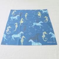 ハンカチ horse & sea horse ptn (馬とタツノオトシゴ) ブルー