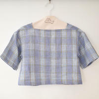 "A .Dupré  | Square Neck Short Tops ""BlueCheck"""