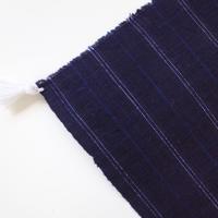あお山ヒュッテ| タッセルマット (navy pinstripe)