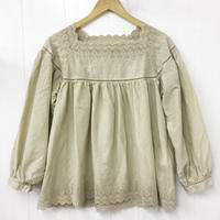 point de Japon / Square Neck Gathered Top / Sand Beige